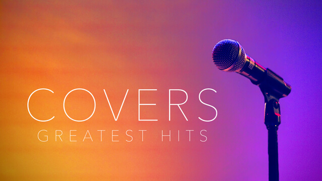 Single microphone on a multicolored background that reads 'Covers Greatest Hits'